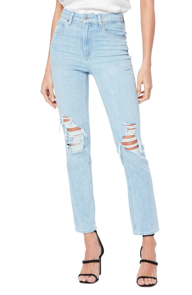 PAIGE Transcend Vintage Sarah Ripped High Waist Slim Straight Leg Jeans, Main, color, LANDSLIDE DESTRUCTED