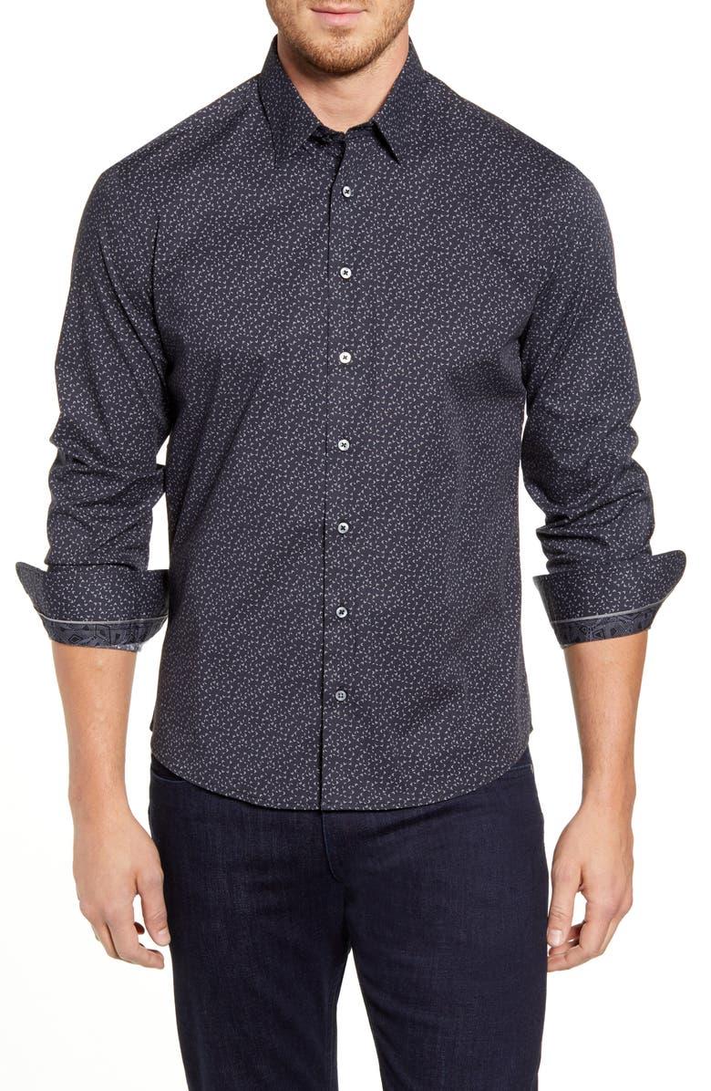 STONE ROSE Regular Fit Geo Print Button-Up Sport Shirt, Main, color, BLACK