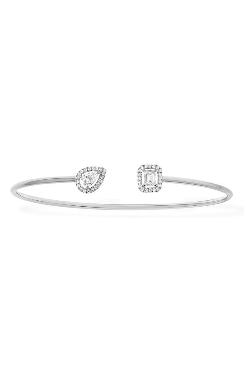 MESSIKA My Twin Memoire Open Diamond Cuff Bracelet, Main, color, WHITE GOLD