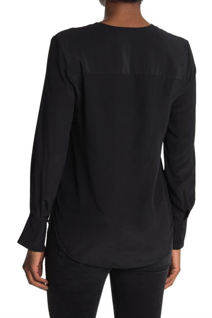 Image of Thakoon Long Sleeve Silk Wrap Blouse