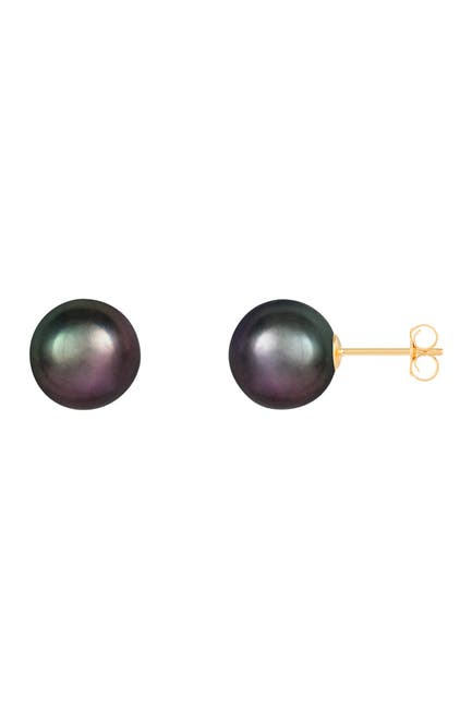 Image of Splendid Pearls 14K Yellow Gold 9-9.5mm Black Freshwater Pearl Stud Earrings