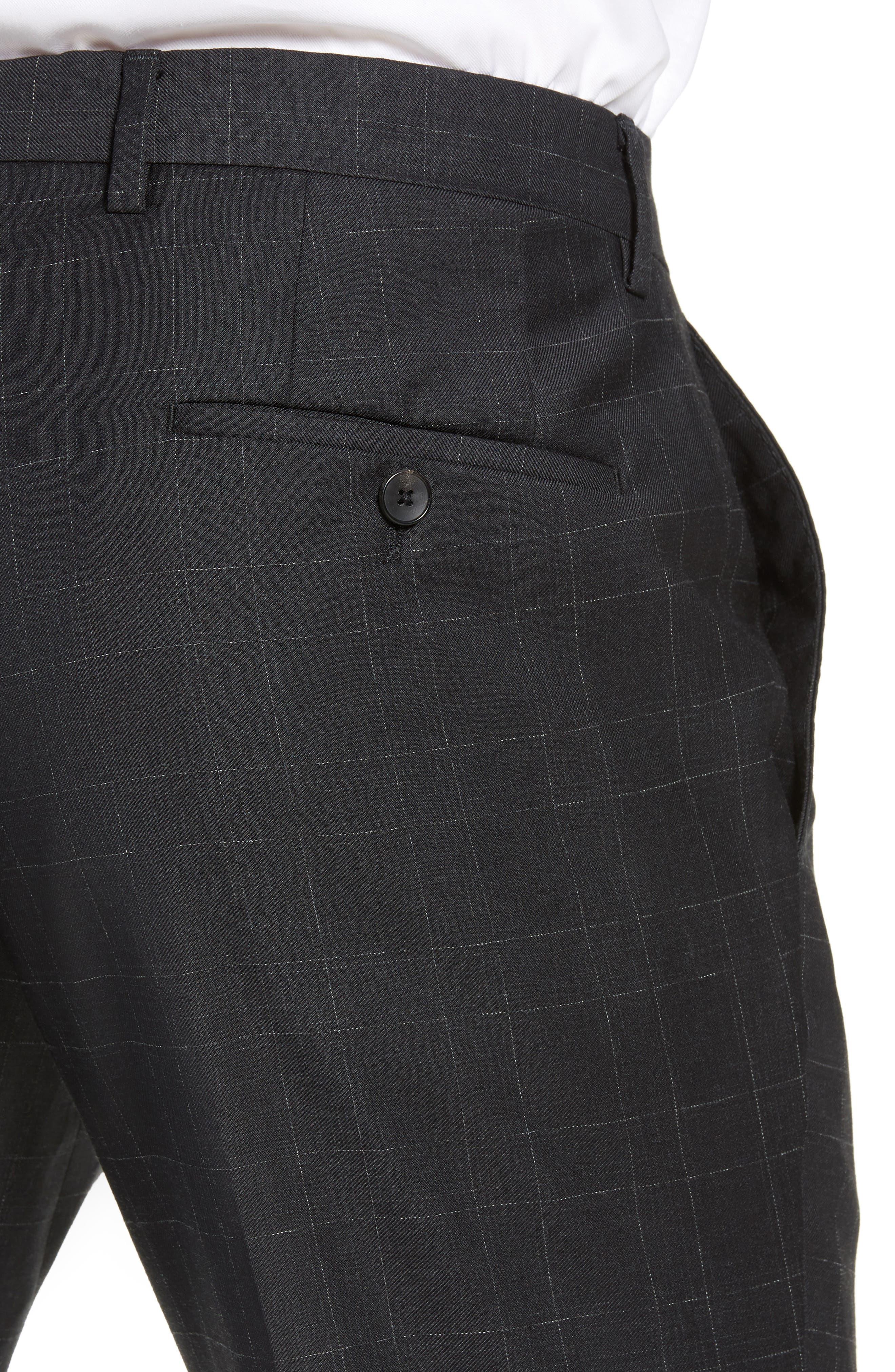 ,                             Genesis Flat Front Plaid Wool Trousers,                             Alternate thumbnail 5, color,                             020