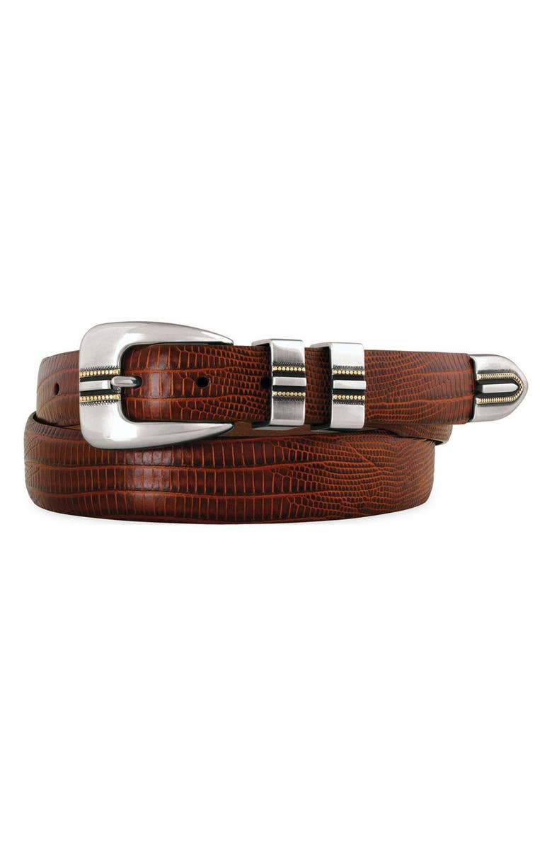 JOHNSTON & MURPHY Leather Belt, Main, color, COGNAC