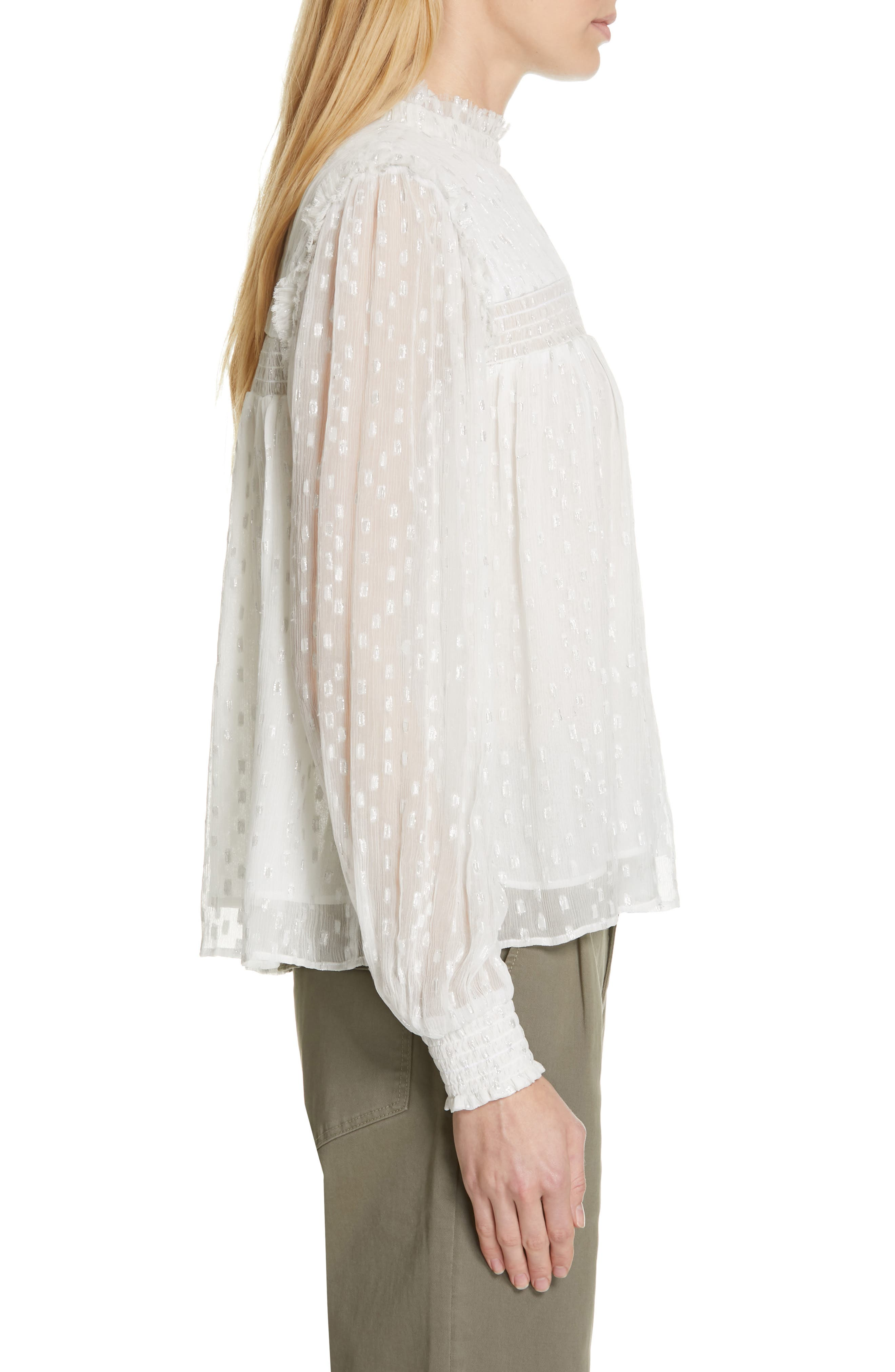 ,                             Smocked Metallic Woven Blouse,                             Alternate thumbnail 3, color,                             OFF WHITE MULTI