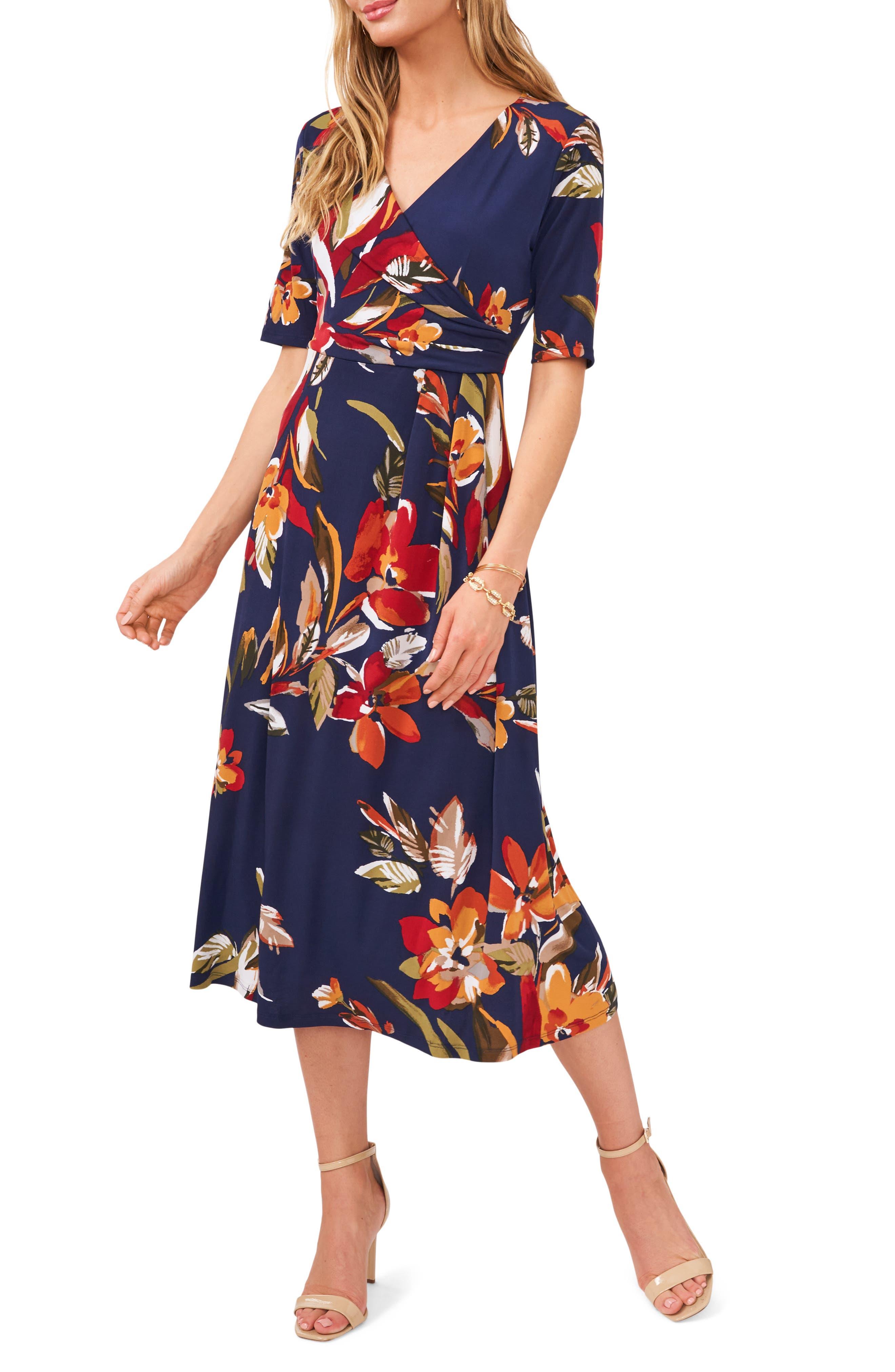 Floral Wrap Front Knit Midi Dress