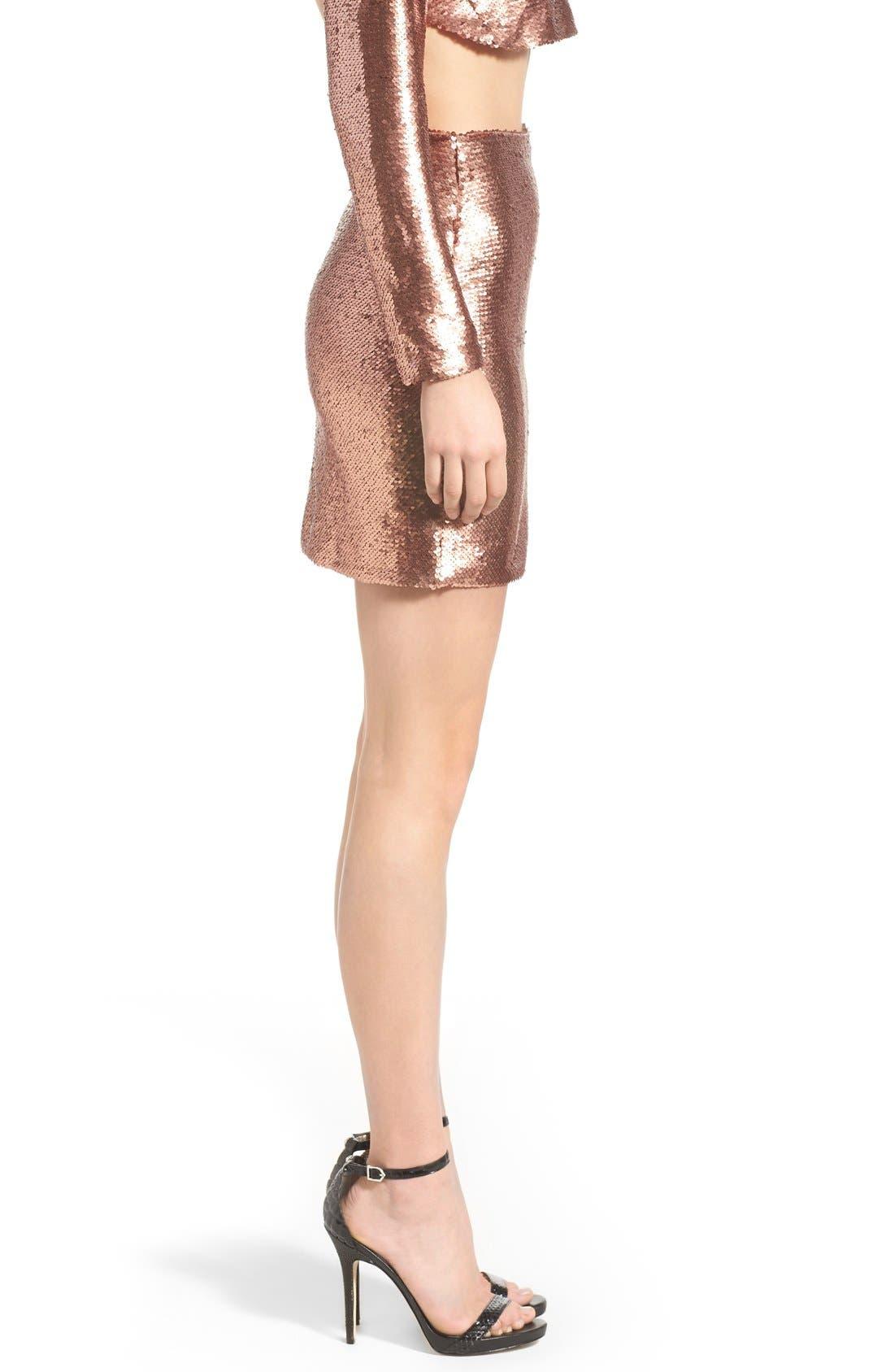 ,                             Sequin Miniskirt,                             Alternate thumbnail 3, color,                             220