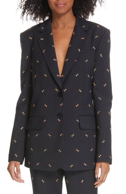 Tibi 'ant' Embroidered Blazer In Darnv Na/ca