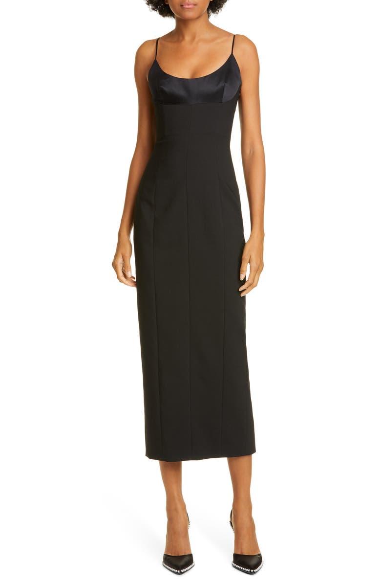ALEXANDER WANG Satin Bodice Midi Dress, Main, color, BLACK
