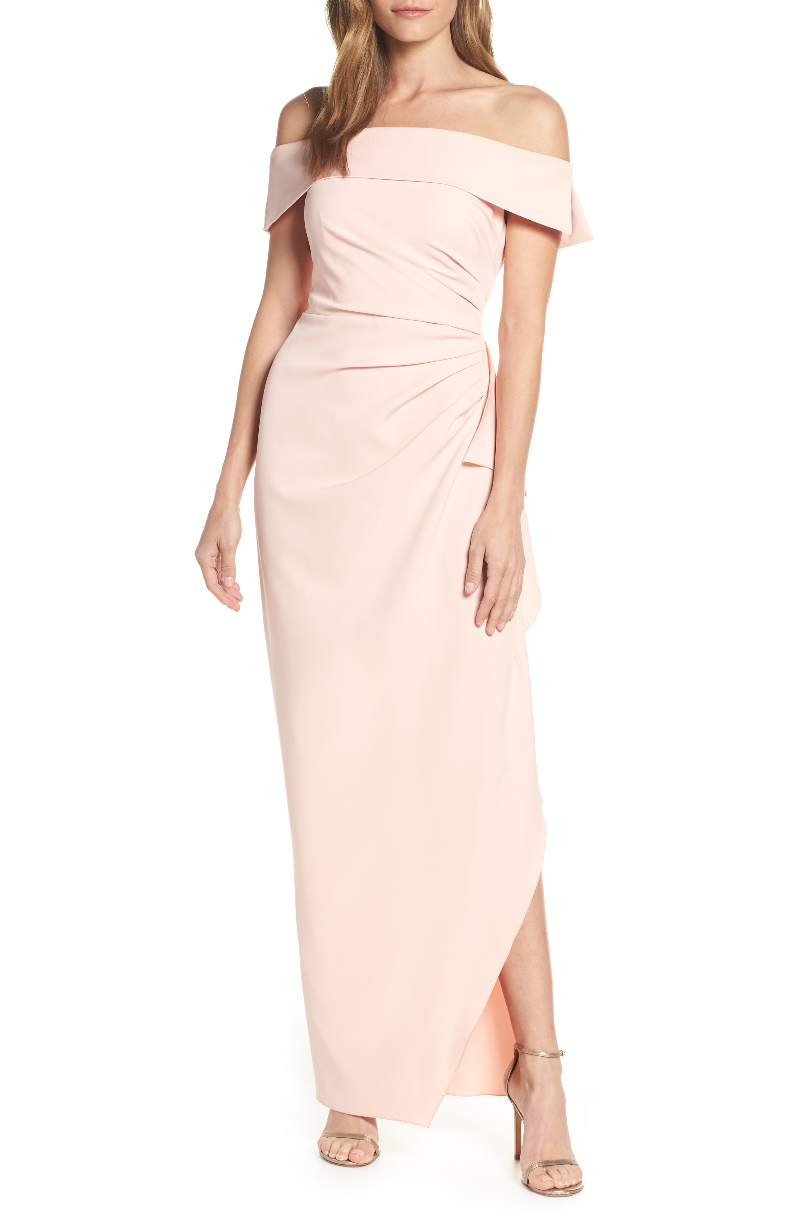 Vince Camuto Off The Shoulder Crepe Gown, Pink