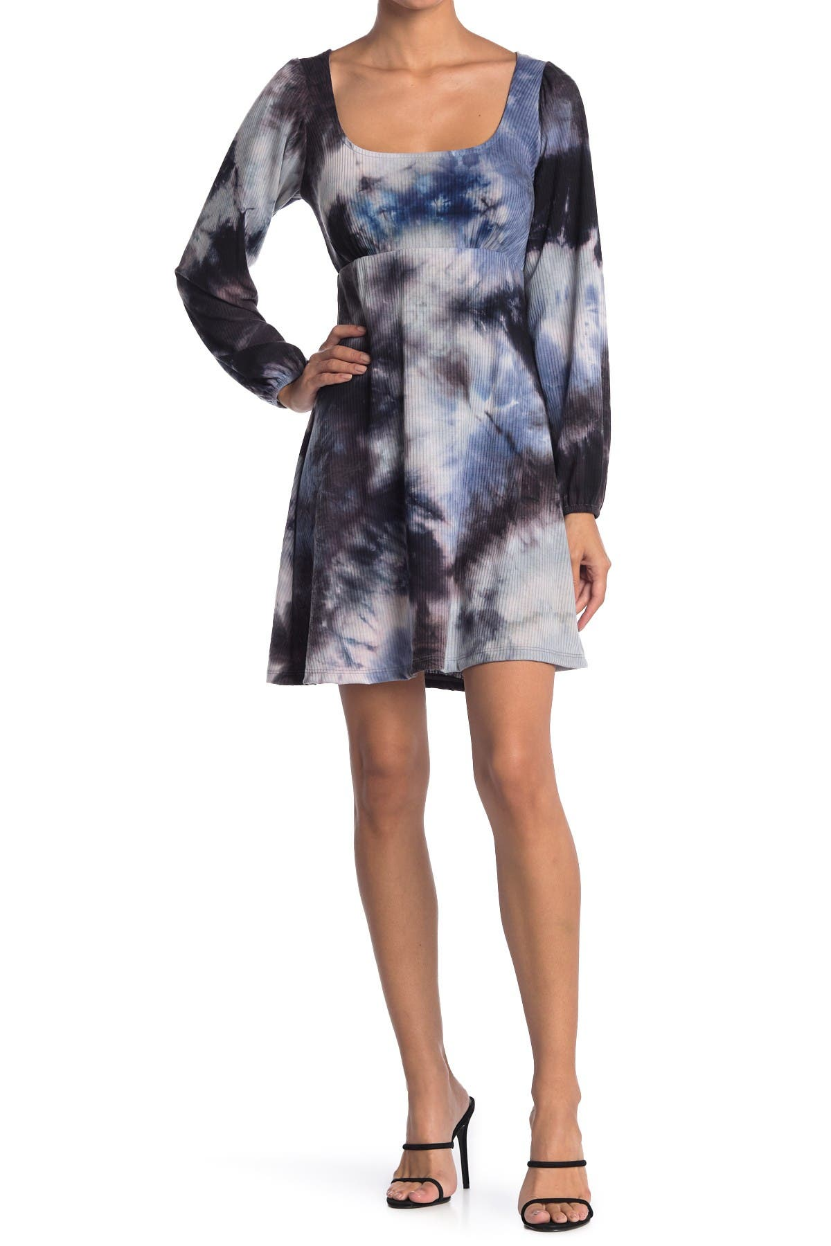 Image of KENEDIK Ribbed Knit Square Neck Tie Dye Dress