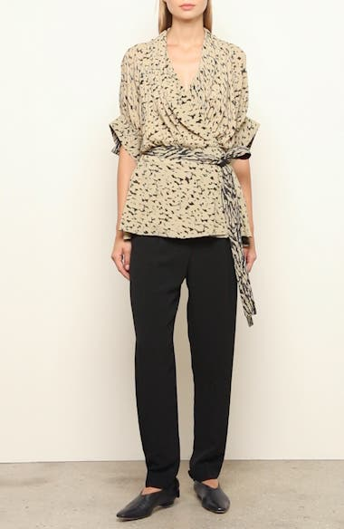 Leopard Print Drape Faux-Wrap Blouse, video thumbnail