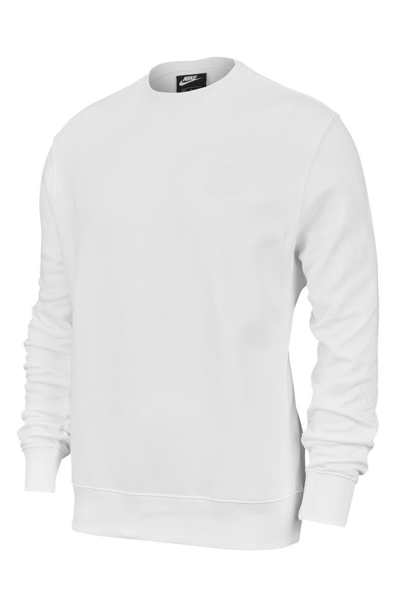 NIKE Sportswear Triple Block Crewneck Sweatshirt, Main, color, WHITE