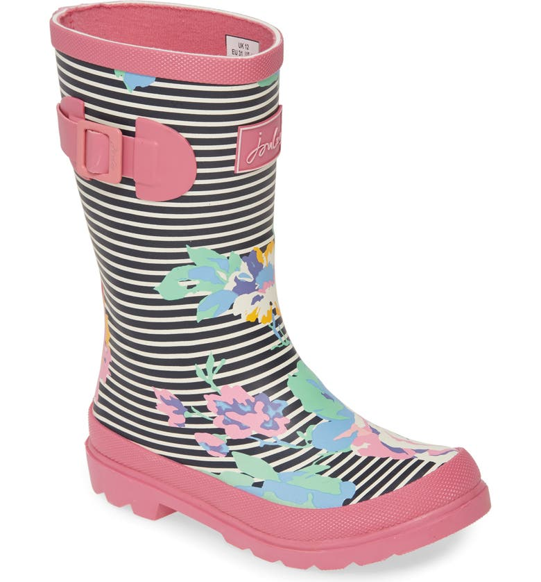 JOULES Mid Height Welly Rain Boot, Main, color, NAVY FLORAL STRIPE