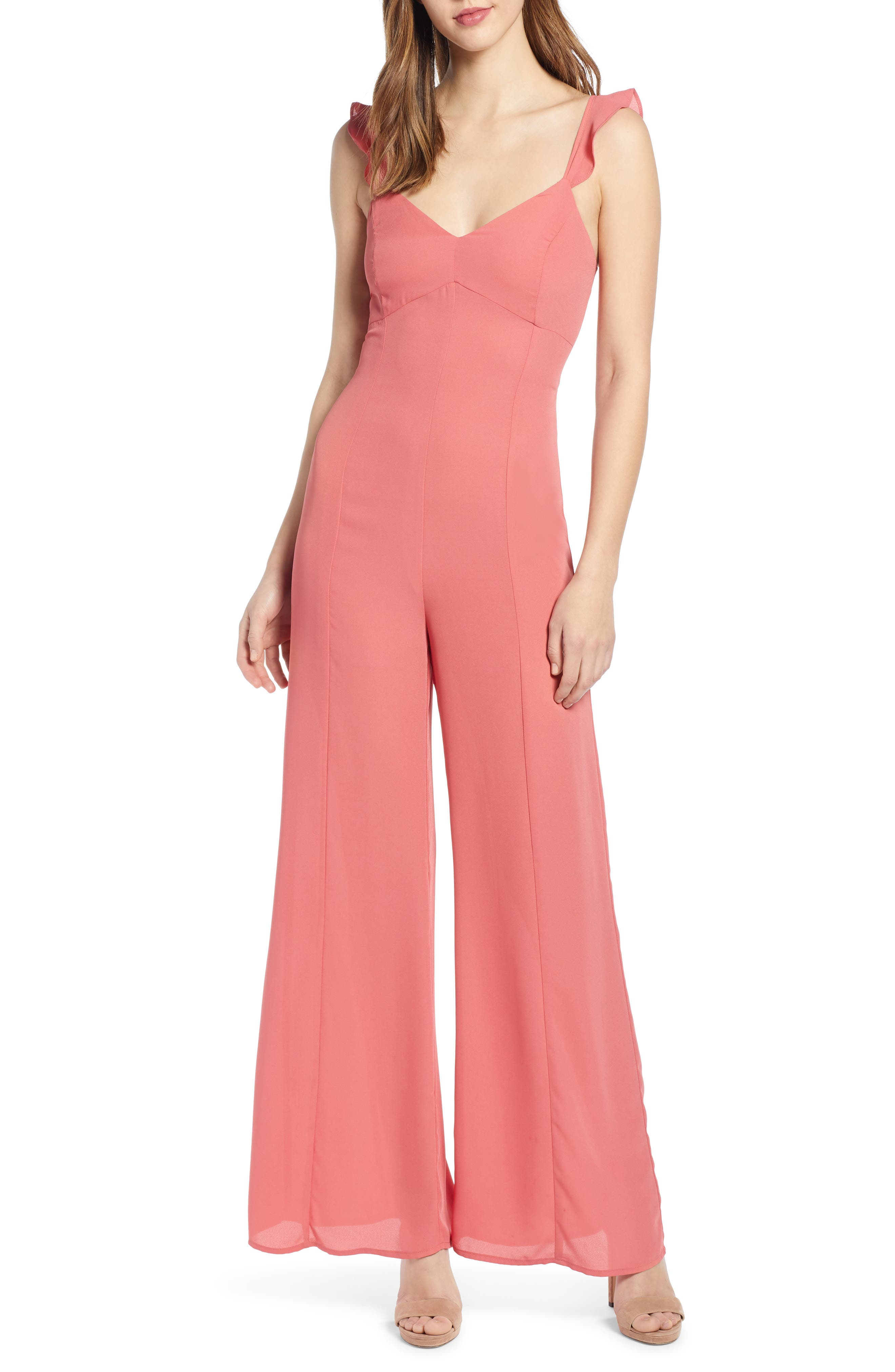 Leith Ruffle Strap Jumpsuit, Red