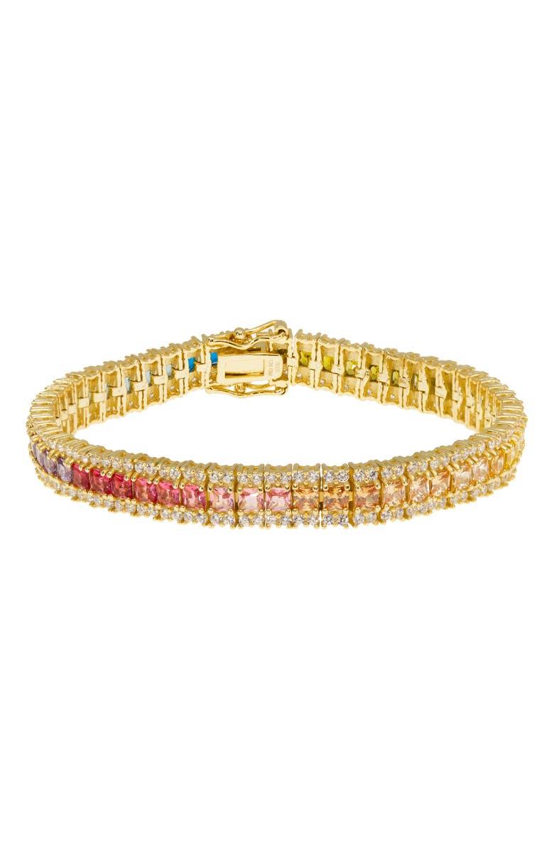 RAGEN JEWELS Ombré Rainbow Tennis Bracelet, Main, color, GOLD