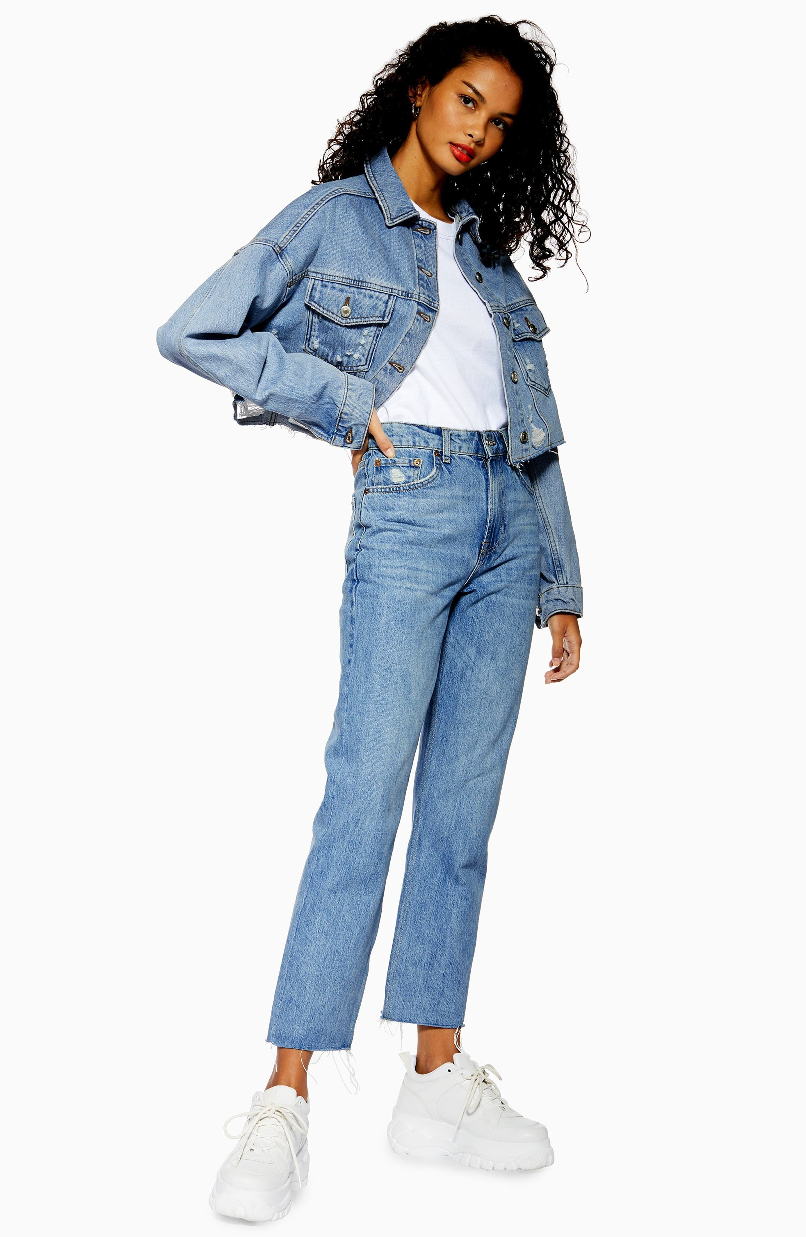 ,                             Hacked Ripped Denim Jacket,                             Alternate thumbnail 5, color,                             MID DENIM