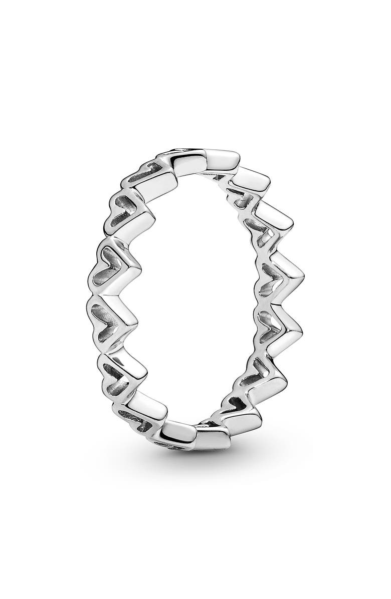 PANDORA Freehand Hearts Stacking Ring, Main, color, SILVER