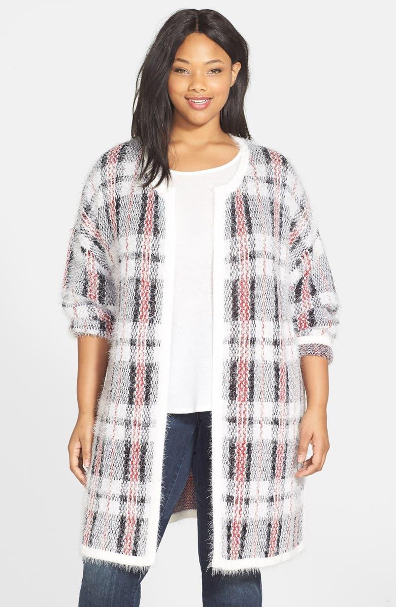 PLEIONE Plaid Eyelash Yarn Sweater, Main, color, 146
