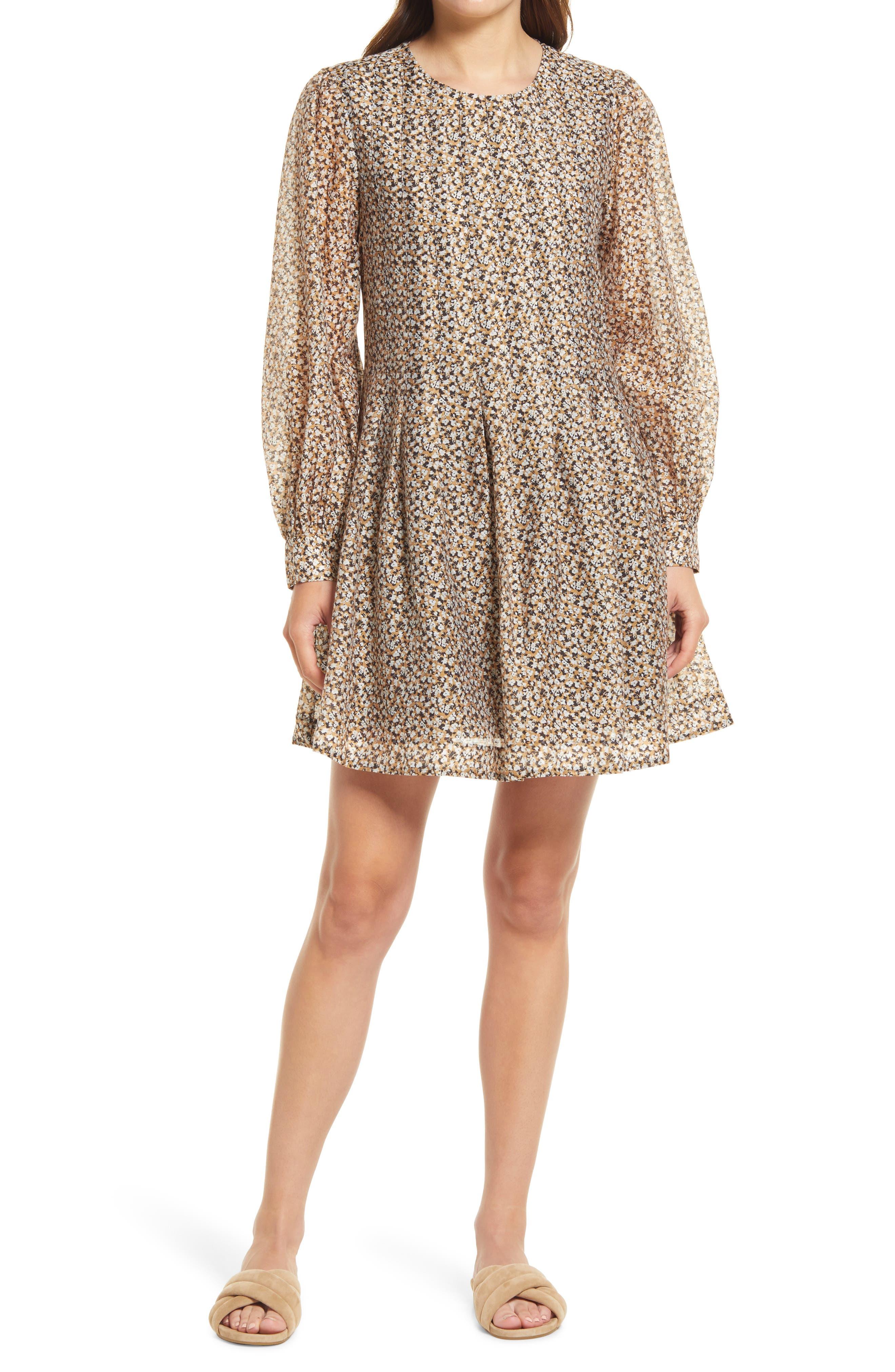 Bronte Pleat Long Sleeve Minidress