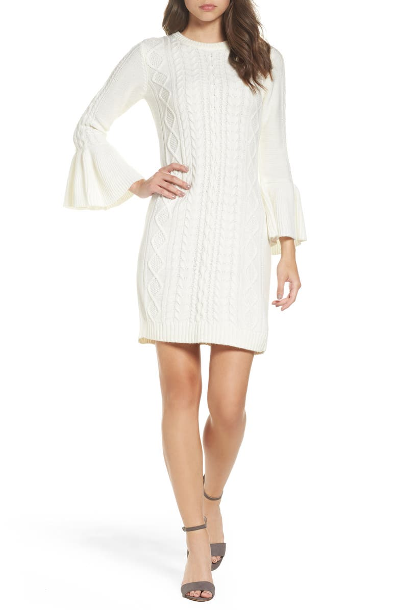 ELIZA J Mixed Cable Sweater Dress, Main, color, 901