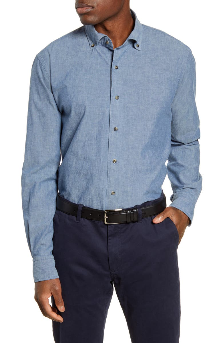 PETER MILLAR COLLECTION Regular Fit Chambray Button-Down Shirt, Main, color, LIGHT CHAMBRAY