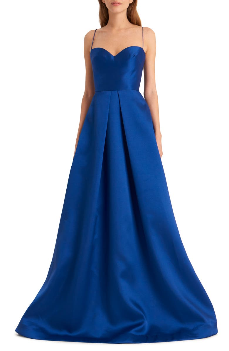 ML MONIQUE LHUILLIER Spaghetti Strap Satin Ballgown, Main, color, SAPPHIRE