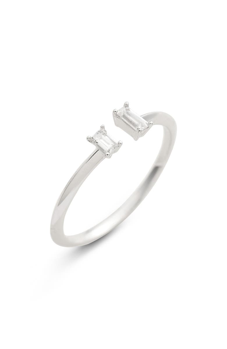 NADRI Baguette Open Stacking Ring, Main, color, SILVER