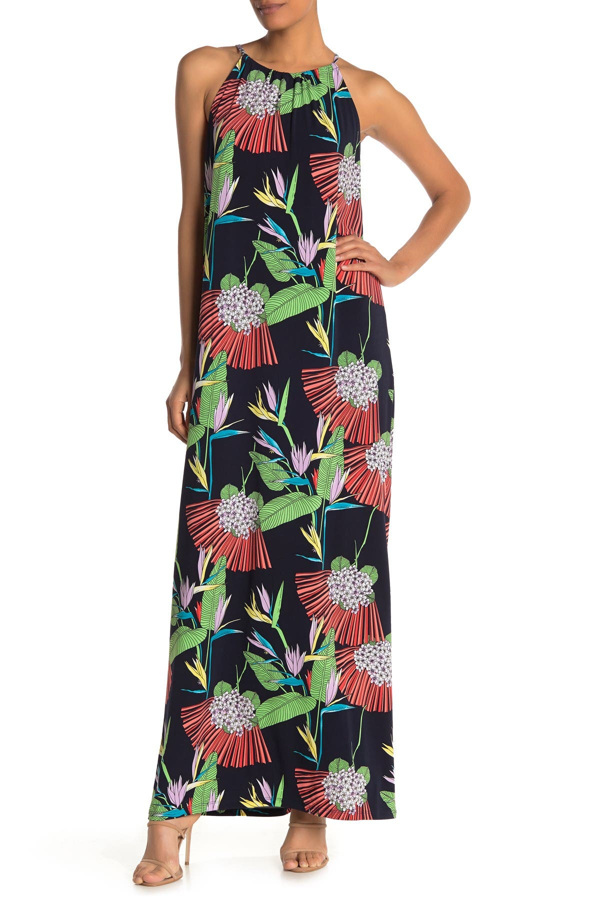 Image of trina Trina Turk Mlian Tropical Halter Neck Maxi Dress