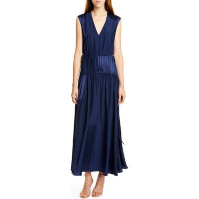 Amur Lotta Cinched Satin Panel Silk Maxi Dress, Blue