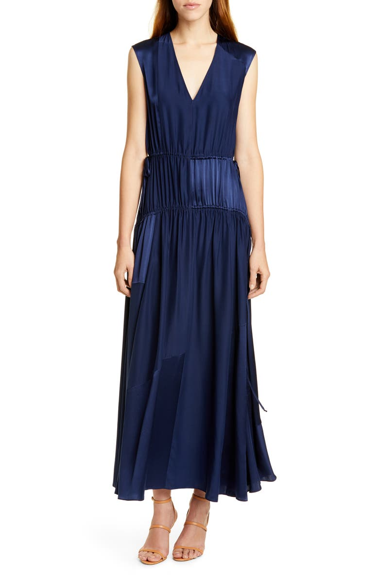AMUR Lotta Cinched Satin Panel Silk Maxi Dress, Main, color, NAVY