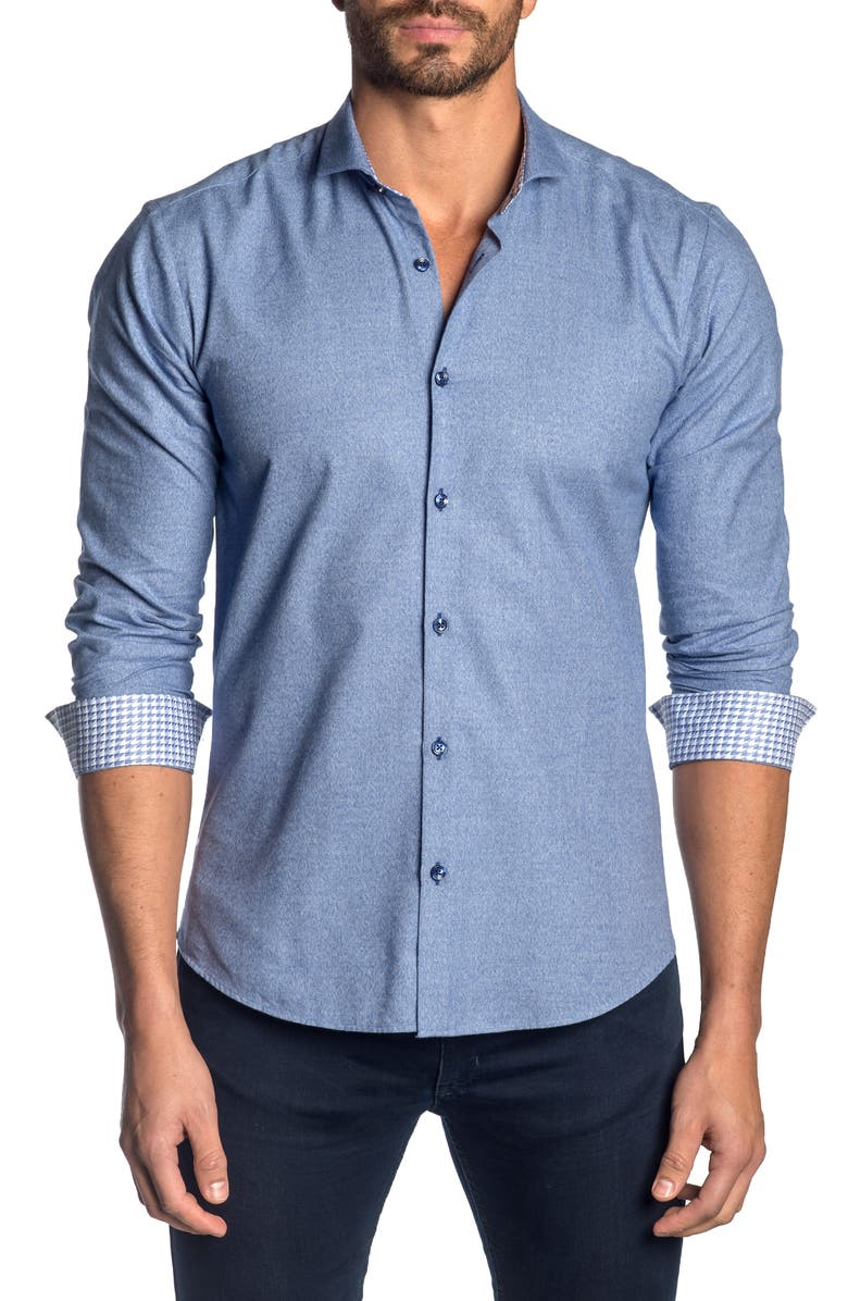 JARED LANG Slim Fit Button-Up Sport Shirt, Main, color, BLUE MOULINE