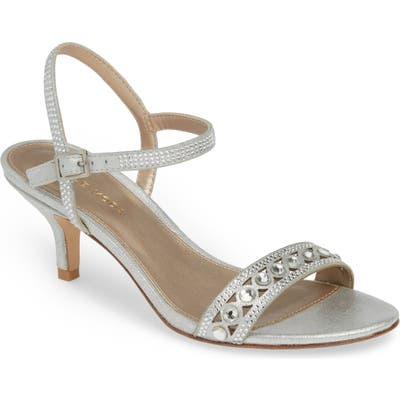 Pelle Moda Ilsa Crystal Embellished Sandal, Metallic