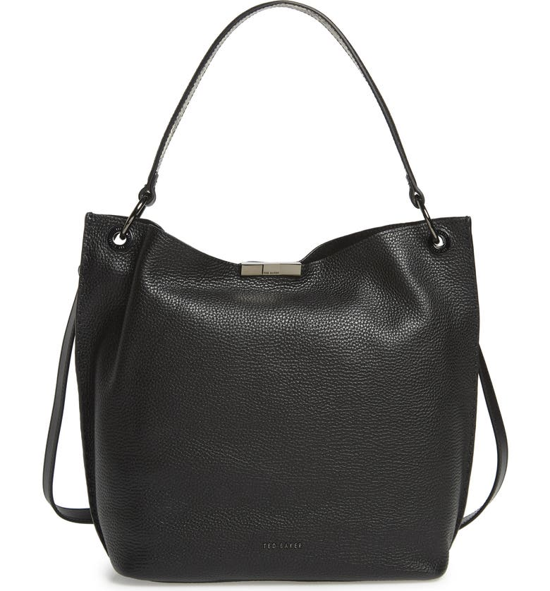 TED BAKER LONDON Jalinda Exotic Leather Hobo & Snake Embossed Pouch, Main, color, BLACK
