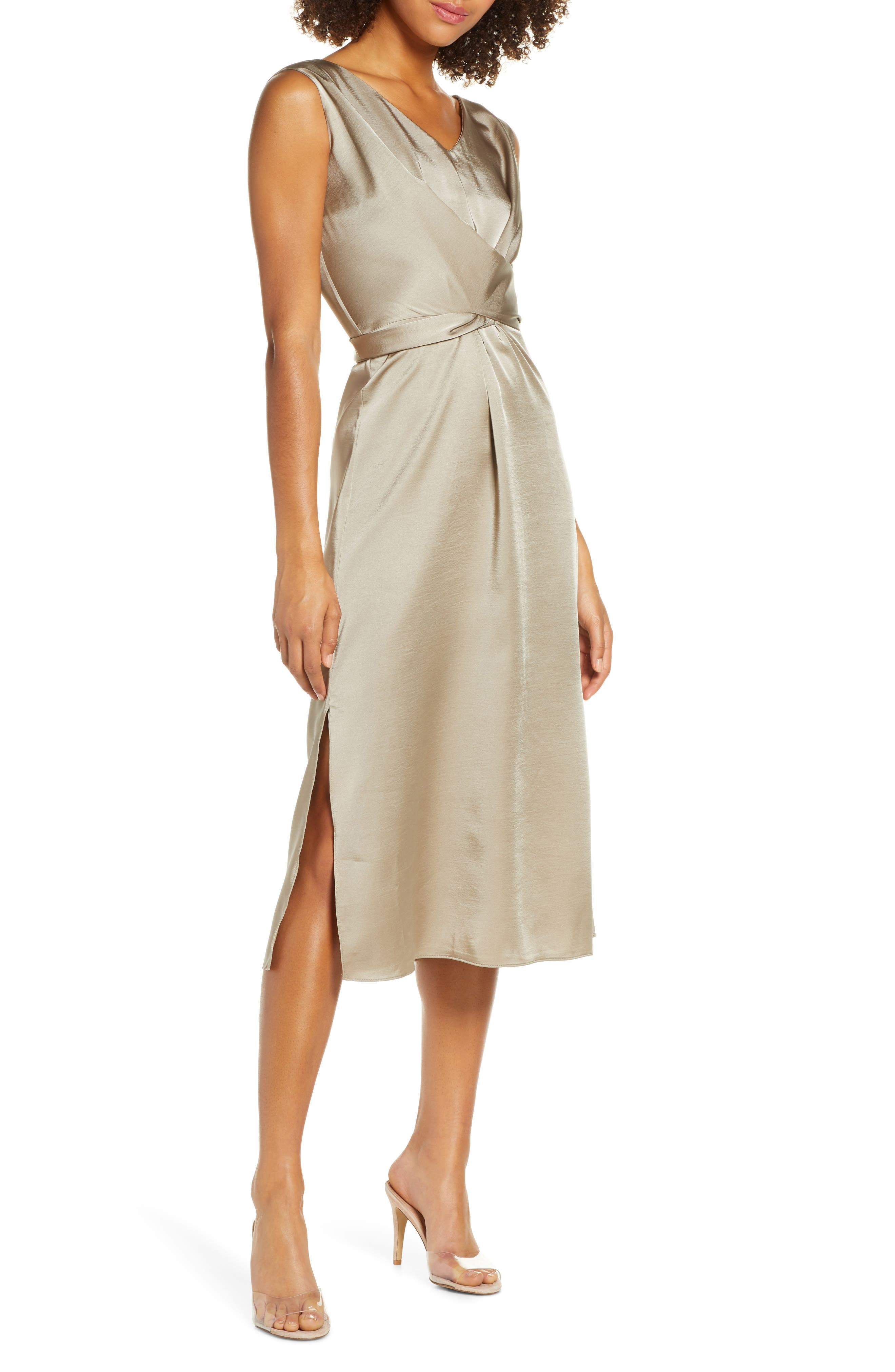 Caara Reeba Crisscross Satin Dress, Beige