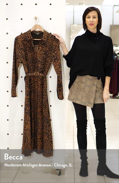 Brittany Leopard Print Long Sleeve Silk Shirtdress, sales video thumbnail