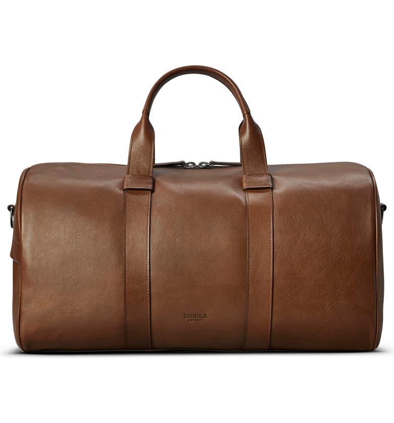 SHINOLA Guardian Leather Duffle Bag, Main, color, WHISKEY