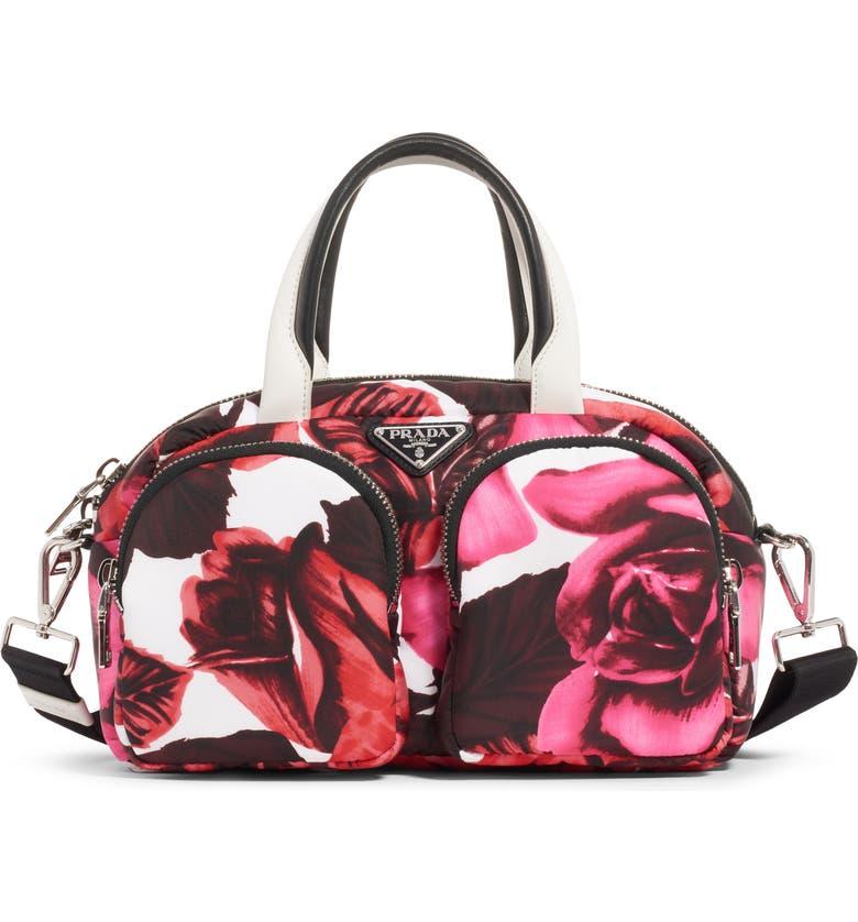PRADA Rose Print Nylon Top Handle Bag, Main, color, PINK