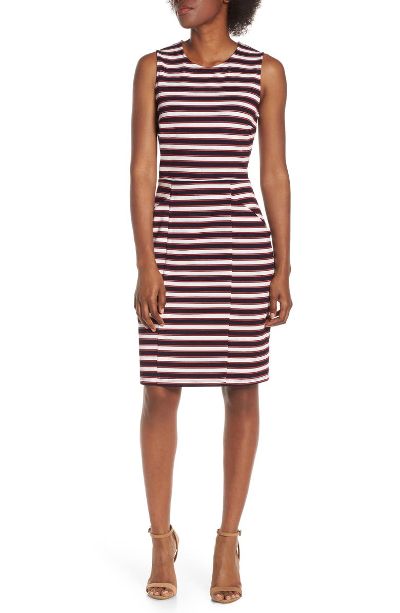 LEOTA Panel Sheath Dress, Main, color, CLASSIC NAVY STRIPE