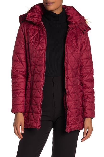 Image of Andrew Marc Faux Fur Trim Hood Quilted Jacket