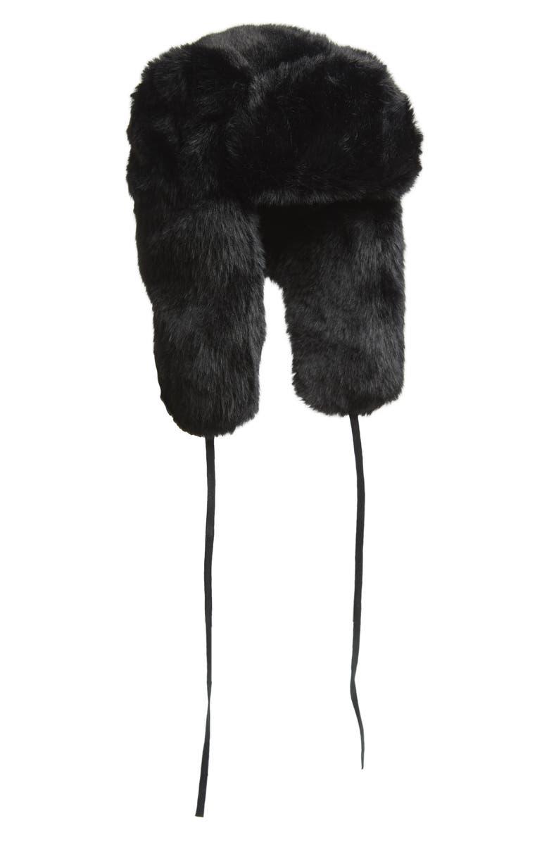 KANGOL Faux Fur Trapper Hat, Main, color, BLACK