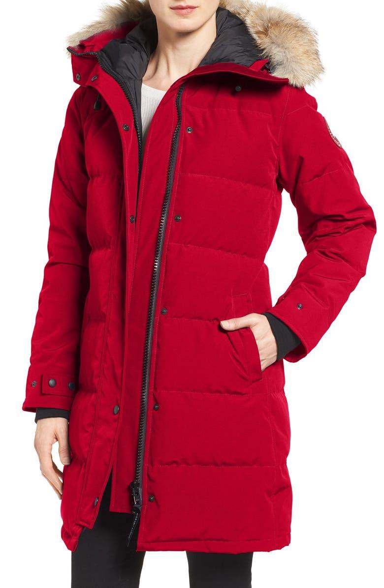 CANADA GOOSE Shelburne Genuine Coyote Fur Trim Down Parka, Main, color, RED
