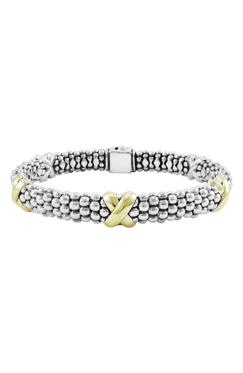 LAGOS 'X' Two-Tone Rope Bracelet, Main, color, STERLING SILVER/ GOLD