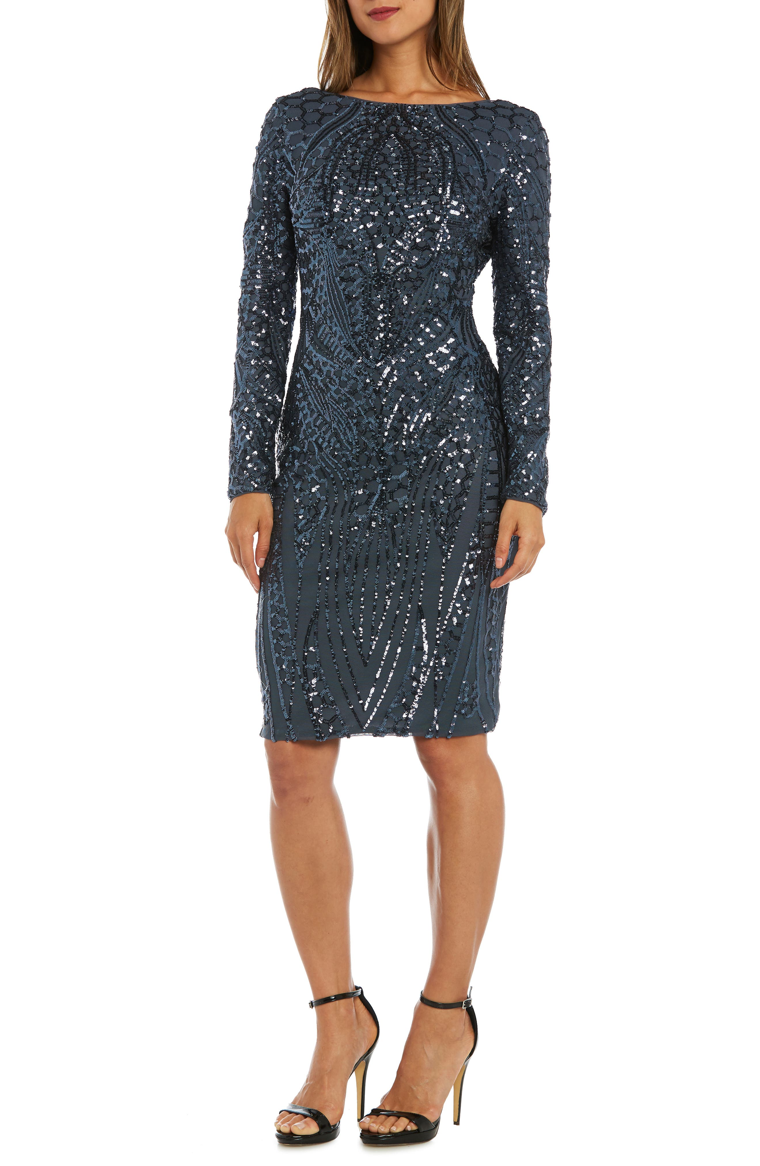 Morgan & Co. Sequin Sheath Dress, Grey