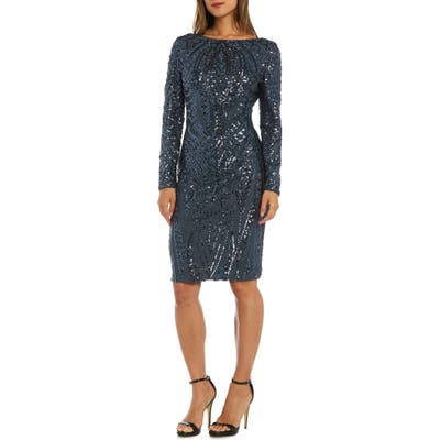 Morgan & Co. Sequin Sheath Dress, Grey