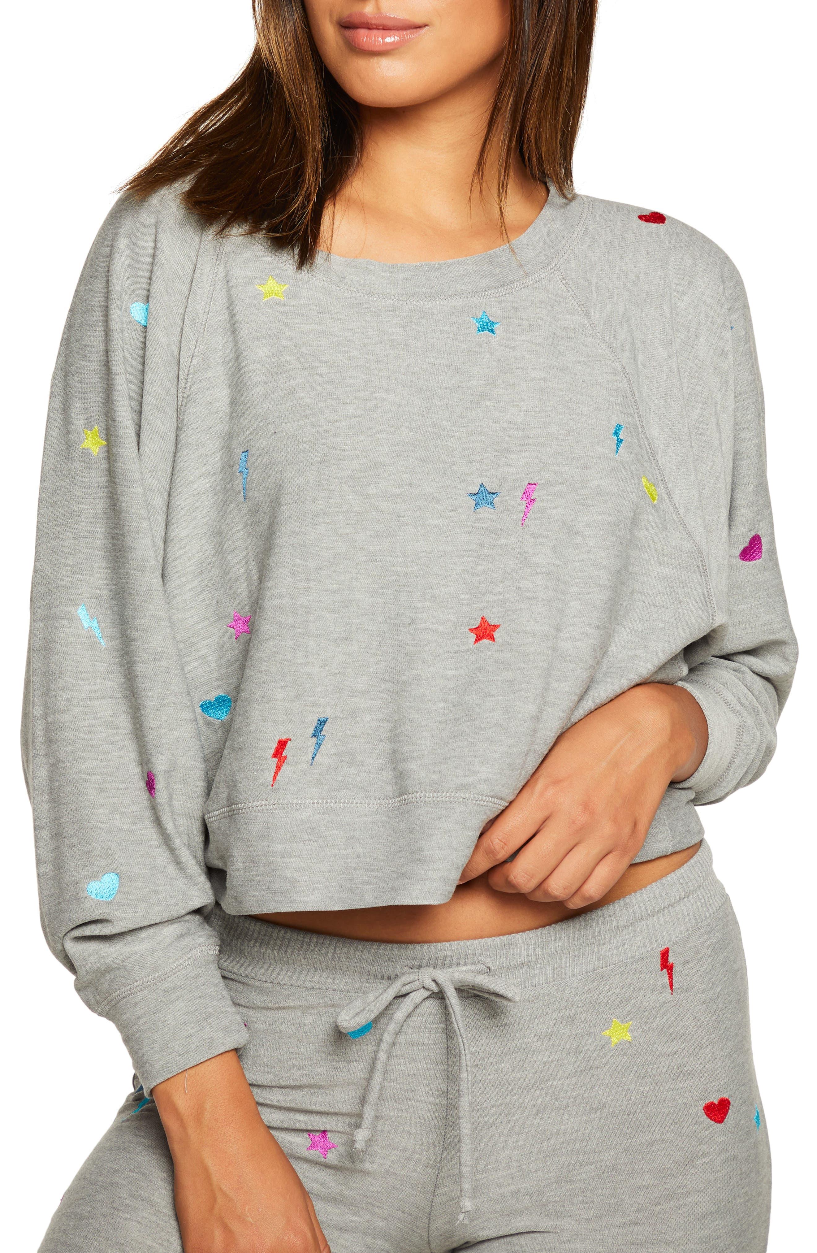Embroidered Crop Sweatshirt