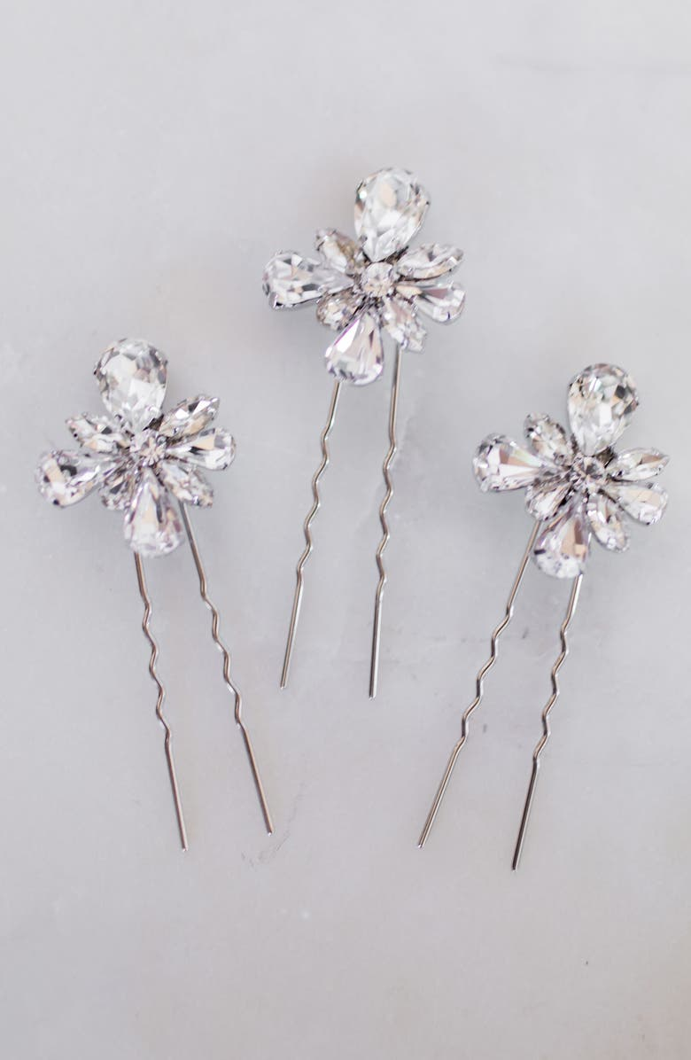 UNTAMED PETALS BY AMANDA JUDGE Aliya Set of 3 Hair Pins, Main, color, SILVER