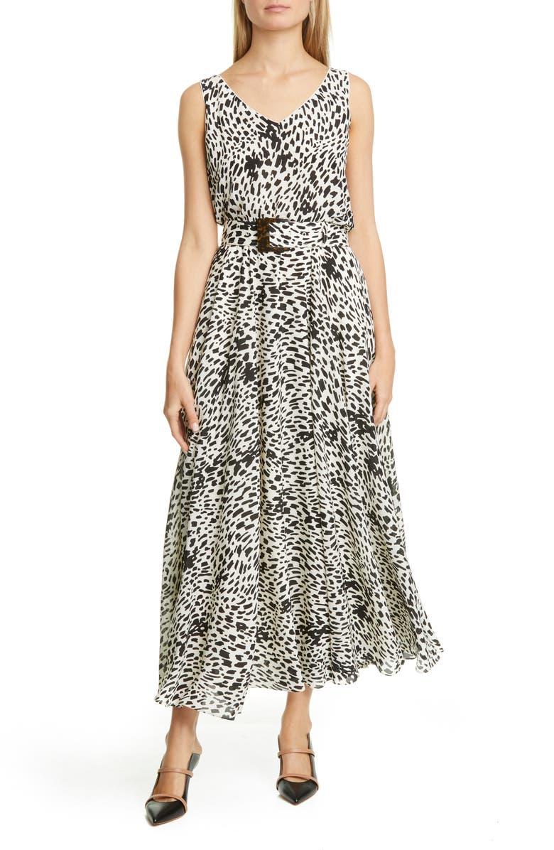 LAFAYETTE 148 NEW YORK Memphis Belted Silk Maxi Dress, Main, color, 001