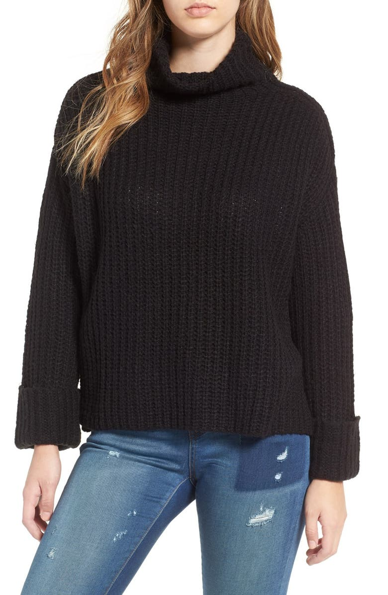 LEITH Chunky Turtleneck Sweater, Main, color, 001