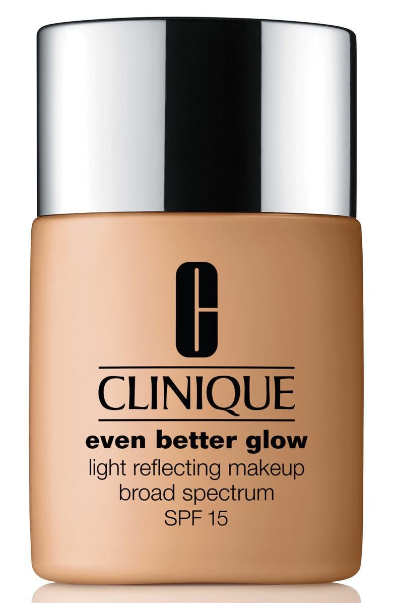 CLINIQUE Even Better Glow Light Reflecting Makeup Foundation Broad Spectrum SPF 15, Main, color, 98 CREAM CARAMEL