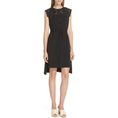 See By Chloe Lace Panel High/low Dress, Black
